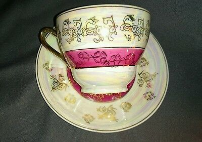 Vintage Lobeco Tea Cup & Saucer Handpainted Iridescent Magenta and Gold JAPAN