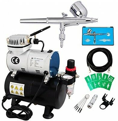 Voilamart Dual Action Airbrush Spray Gun 1/6hp Compressor Kit Needle Stencils