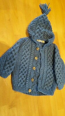 Hand knitted boys hooded jacket 18-24mths