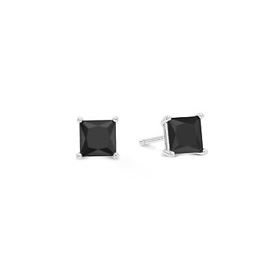 Sterling Silver Black Onyx Cubic Zirconia Square Stud Earrings Princess Cut