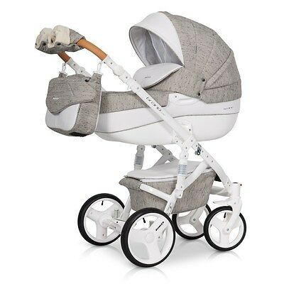 RIKO BRANO LUXE LATTE  PRAM 3in1 CARRYCOT + PUSH CHAIR + CAR SEAT