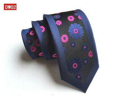 Black, Pink and Blue Flower Patterned Handmade 100% Silk Skinny Wedding Tie