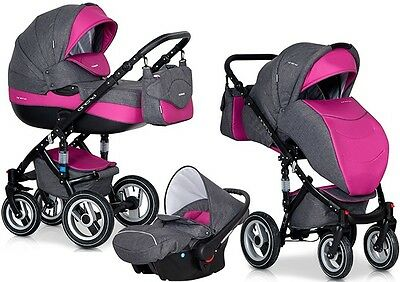 RIKO BRANO MAGENTA PRAM 3in1 CARRYCOT + PUSH CHAIR + CAR SEAT