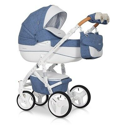 RIKO BRANO LUXE DENIM PRAM 3in1 CARRYCOT + PUSH CHAIR + CAR SEAT