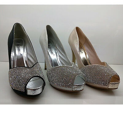 Womens Ladies Prom Party Wedding High Heels Diamante Peep Toes Court Shoes Size