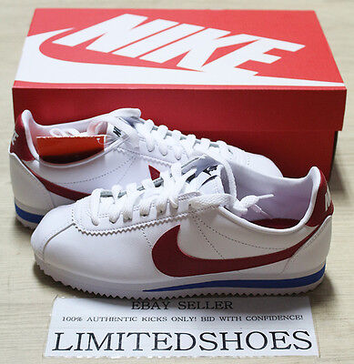 NIKE WMNS CLASSIC CORTEZ LEATHER VARSITY RED WHITE ROYAL 807471-103 forest  gump d896b762c