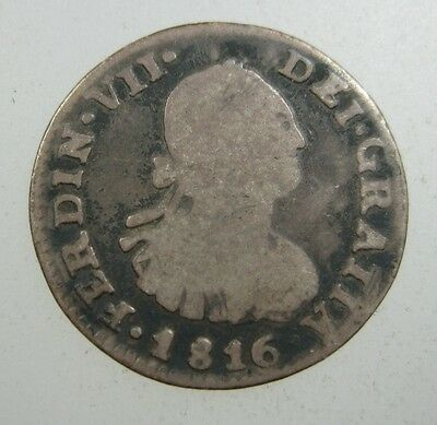 Bolivia Spanish 1/2 Real 1816 Silver Sharp #n Spain Colony World Money Coin