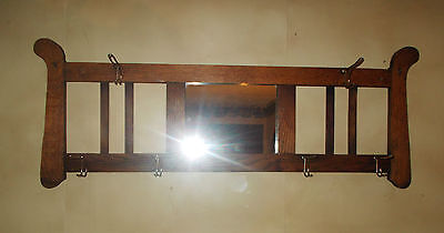Antique Arts & Crafts Missoin Tiger Oak Wall Mount Hat And Coat Rack With Mirror