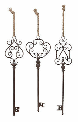 Old Fashioned Style Black Metal Keys Scroll Work Set of 3 Wall Decor 20206