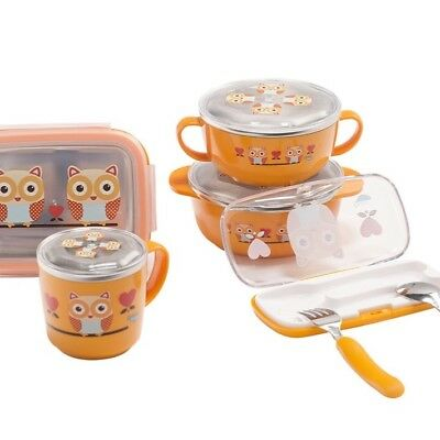 Lunch + Bento Box + Bowls + Cup & Utensil Set for kids : Owl
