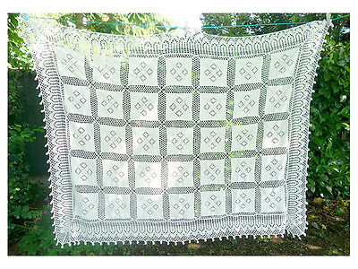 Beautiful vintage crochet bed spread, crochet table cloth, bohemian window panel