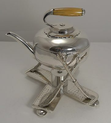 Rare Silver Plated Novelty Kettle on Stand - Curling Stone by Fenton Brothers