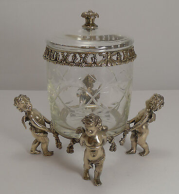 Grand Antique French Biscuit Box c.1890 - Cherubs or Putti Figures