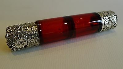 Antique English Double Ended Ruby Red Perfume Bottle - Victorian Sterling Silver