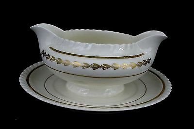 Steubenville Monticello China Gold Laurel Gravy Boat Attached Underplate