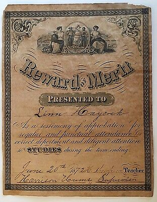 MASSIVE REWARD OF MERIT 1872 Safety In Union RECONSTRUCTION ERA BANK NOTE STYLE