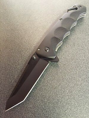 Spring Assisted Tactical black Folding Pocket Knife switch blade TANTO BLADE