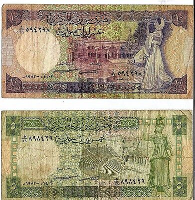 SYRIAN Banknotes 5 &10 POUNDS - 1983 Issues Circulated