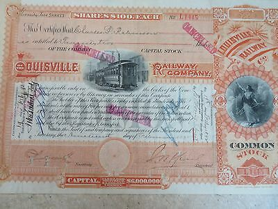 Vintage Louisville Railway Co - Common Stock Certificate  # L1445  Cancelled