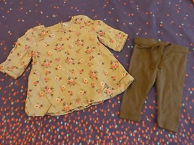 Baby Girls Vertbaudet Outfit, Age 0-3 Months, Top & Leggings Set