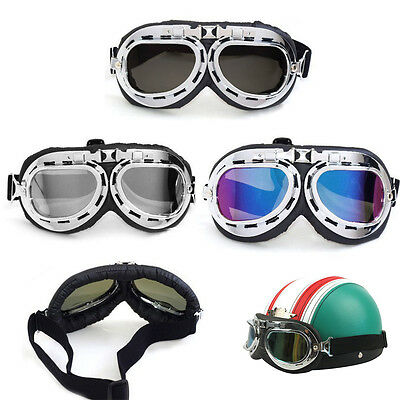 Windshield Anti Fog Lens Retro Pilot Fit Over Glasses Motorcycle Safety Goggles
