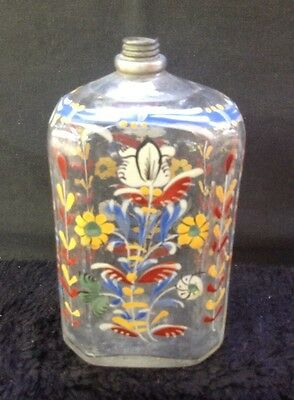 Early American Stiegel-type  Hand-Painted Glass Bottle