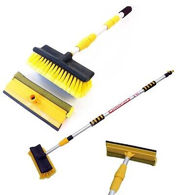 Extendable Telescopic Pole Water Fed Wash Brush & Squeegee 3m Long Reach Cleane