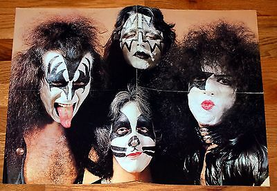 KISS 1975 Dressed To Kill Tan Group Poster 17x22 Magazine Centerfold Gene Aucoin