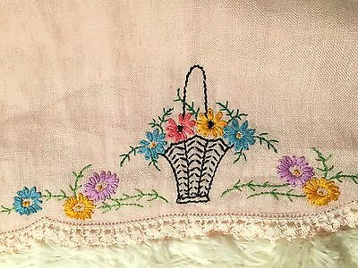Vintage Table Runner, Dresser Scarf, Linen, Pink Crocheted Edge Embroidered