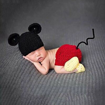 Crochet Mickey Mouse Outfit Newborn Prop Photo Shoot Gift ***FREE POSTAGE***