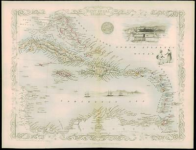 "c1850 ""WEST INDIA ISLANDS"" Map by Tallis HAITI LEEWARDS CUBA CAYMAN TRINIDAD"