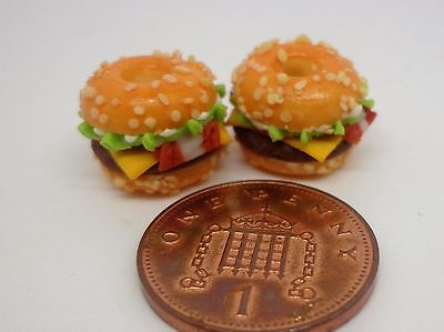 1:12 Scale Beef Burgers x 2  Dolls House Miniature Food