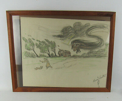 Antique Signed Drawing Iroquois Artist Ernest Ernie Smith Native American Indian