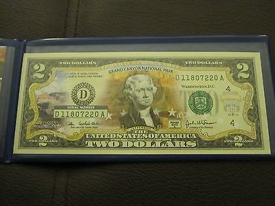 U.S. 2003 Grand Canyon National Park Colorized $2 Bank Note Two Dollar Bill