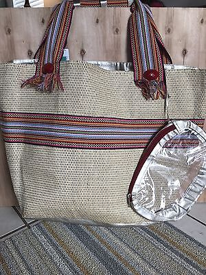 Bohemian Love Tote Handmade Woven Straw oversized tote with attached cosmetic