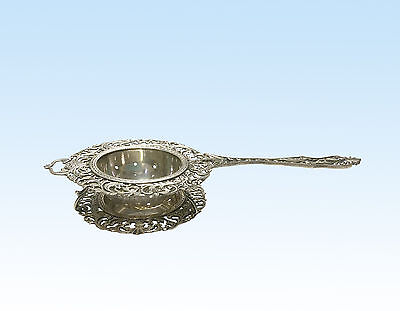 Antique Tea Strainer With Drip Bowl, Continental Silver (.800)