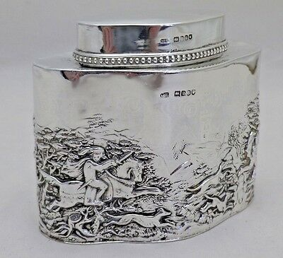 Antique Solid Silver Serpentine Embossed Tea Caddy Canister 1902 (728-C-VON)