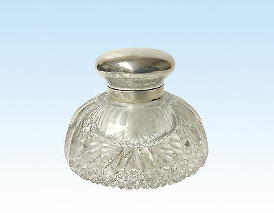 Presentation Inkwell, Sterling Silver And Lead Crystal