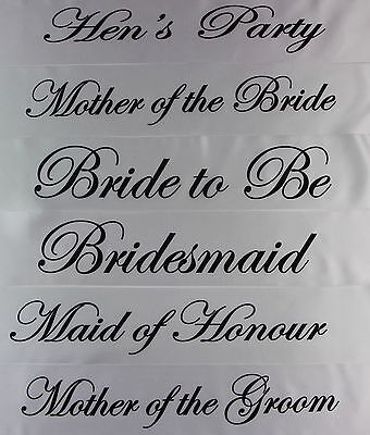 White Luxury Hen Night Do Party Sashes Bride To Be Bridesmaid Mother Of Sash