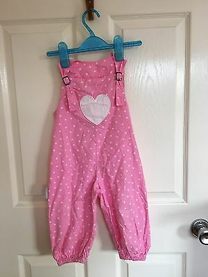 Pink & White Cotton Dungarees With Heart From Silverjungle 18-24 months (86/92)