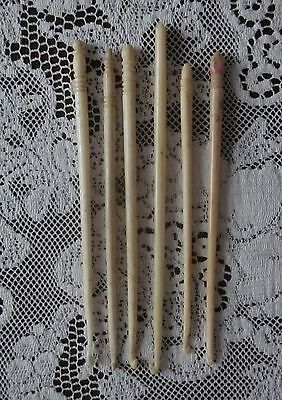 6 Vintage Antique Bone Bovine Crochet Hooks Sewing Tools
