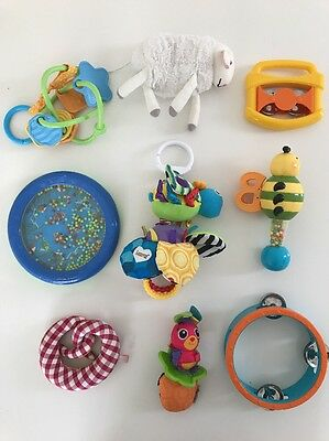Baby 9x Toy Bundle - Lamaze Flutterbug, Green Toys Teether, B Rattle, Ocean Drum