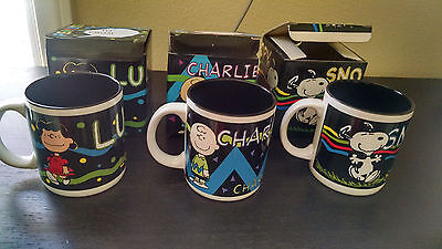 Penuts Coffee Mug Charlie, Lucy, Snoopy set of 3 black coffee cups.