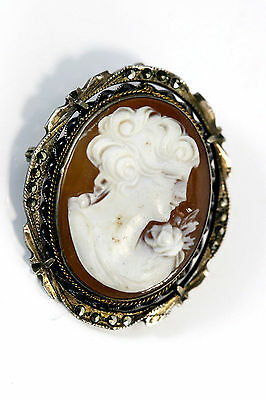 """D199 Cameo Brooch Pin Pendant vintage Sterling 6.9g 925 1 3/8x1 1/8"""""""