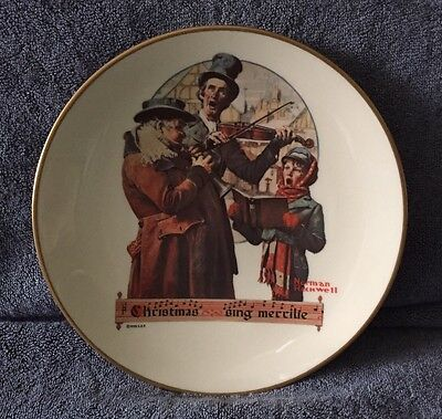 """1976 Gorham Christmas Plate - """"Christmas Trio"""" - feat. Norman Rockwell SEP art"""