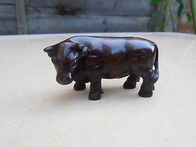 Fine Early 20th c Japanese Wood Carved Netsuke Bull - Signed