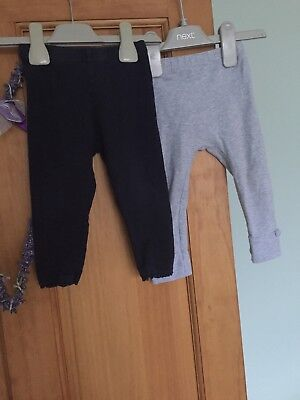 Navy Leggings 9-12 Months By Next & Grey Leggings By M&P 12-18 Months