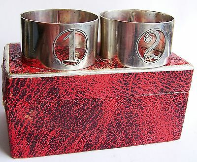 Pair of Antique Silver Hallmarked Napkin Rings,  No 1 and  No 2.   H/M c.1924.
