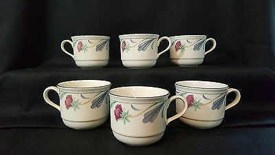 "6 Vintage LENOX ""Poppies on Blue"" 2 3/4"" Coffee Mugs • Excellent!"