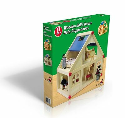 13 pcs Wooden Doll House with Furniture and Doll Family Kids Toy - Ideal Gift